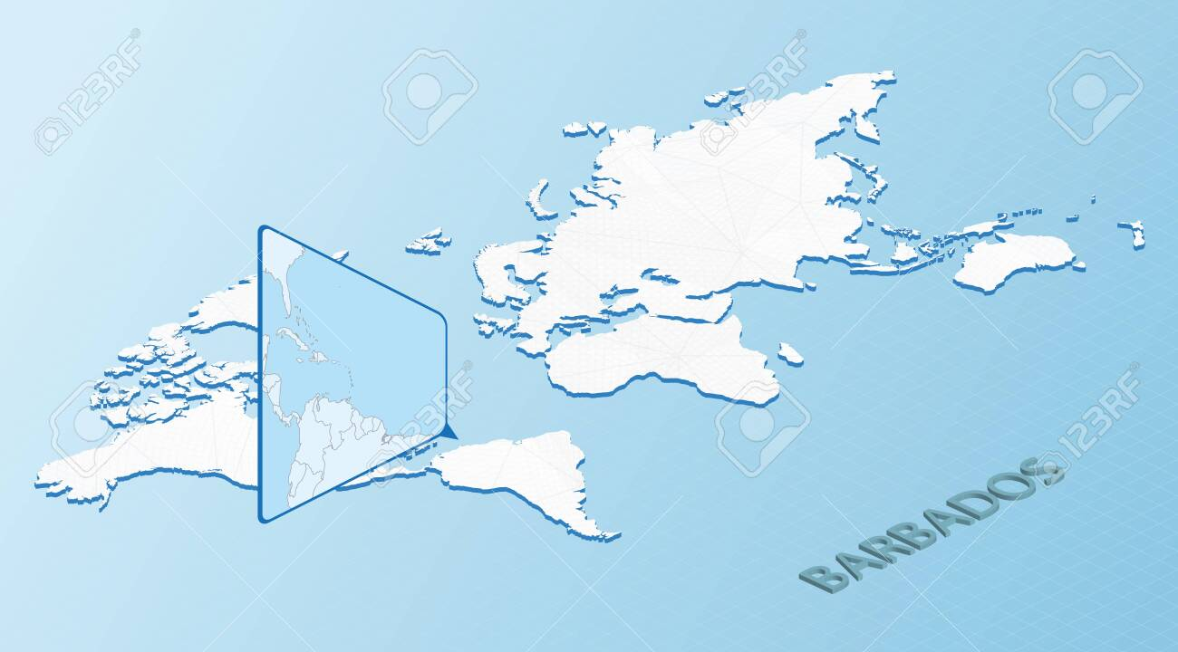 Picture of: World Map In Isometric Style With Detailed Map Of Barbados Light Blue Barbados Map With Abstract World Map Vector Illustration Ilustraciones Vectoriales Clip Art Vectorizado Libre De Derechos Image 152271819