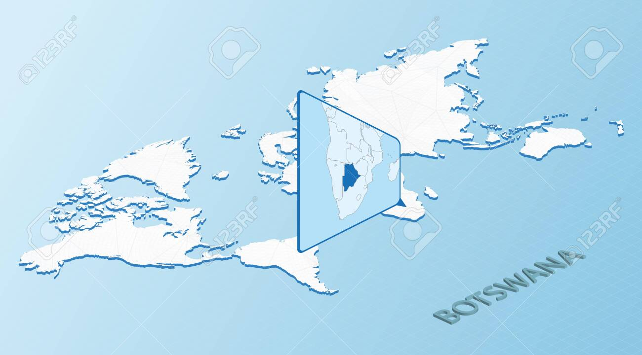 Picture of: World Map In Isometric Style With Detailed Map Of Botswana Light Royalty Free Cliparts Vectors And Stock Illustration Image 152272038
