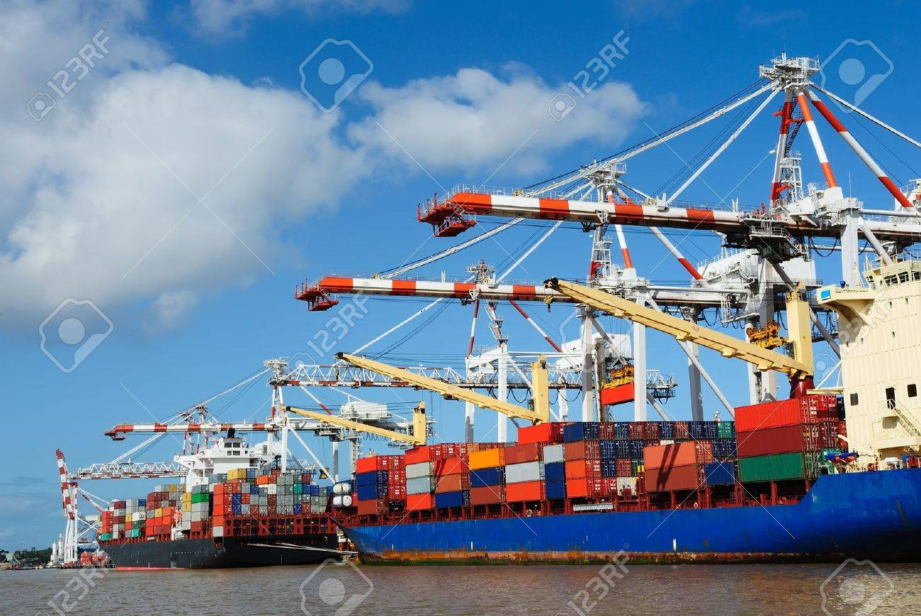 Stacked containers on ship Stock Photo - 10825267
