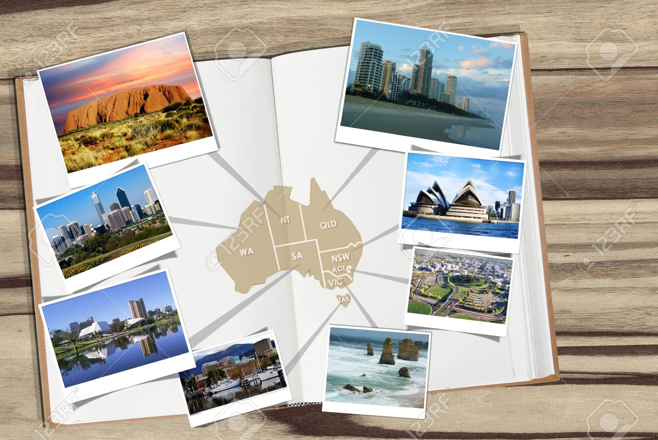 Map Of Australia With Photos Of Tourist Attractions And Cities – Australia Tourist Attractions Map