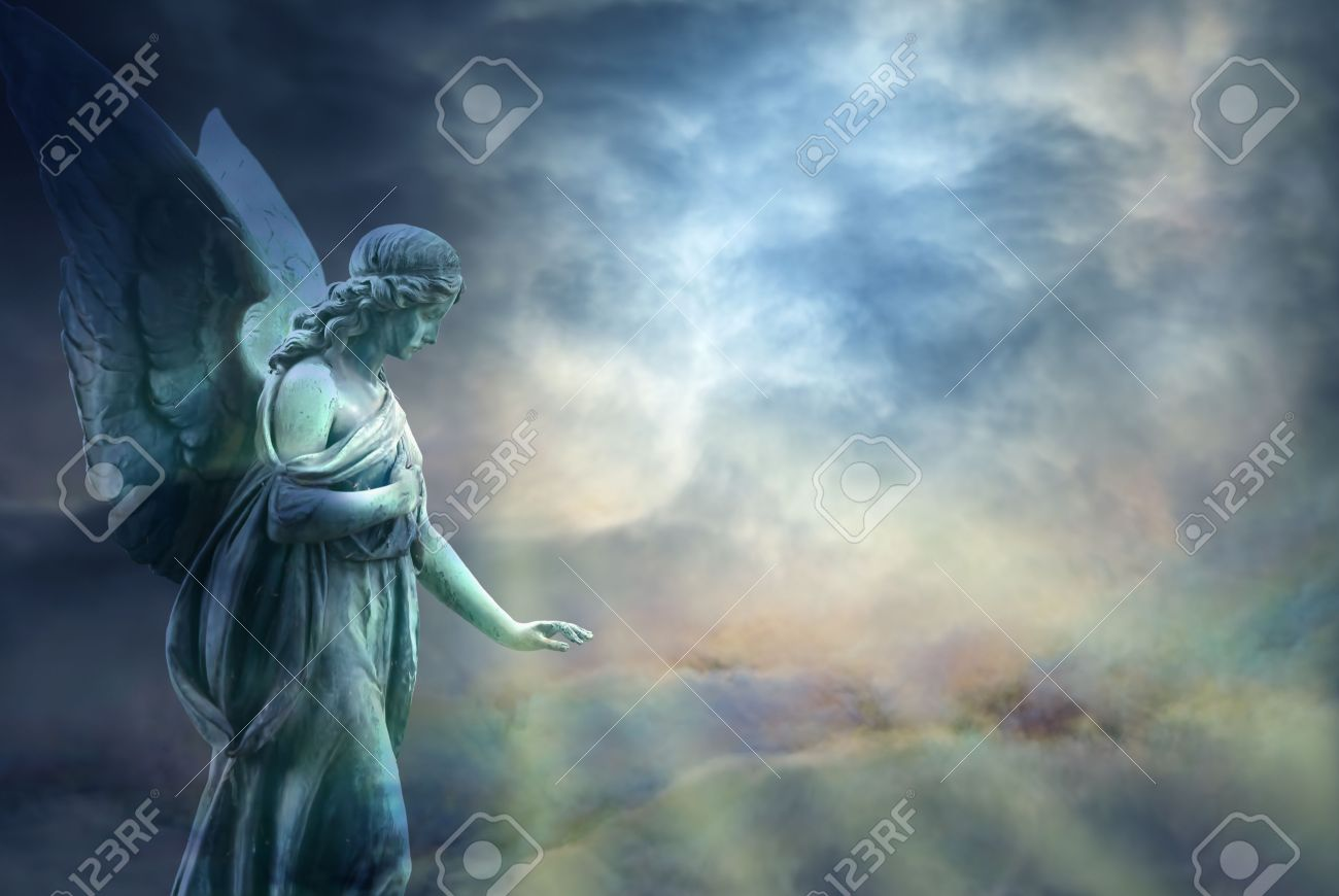 Beautiful angel in heaven with divine rays of light - 53265336