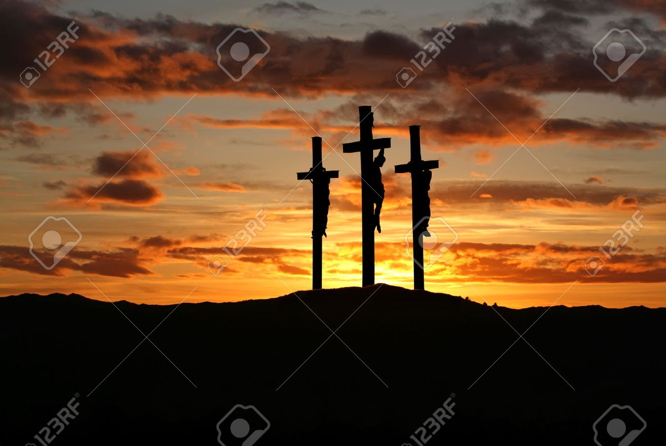 Three crosses on the mountain Golgotha representing the day of Christ?s crucifixion - 54786529