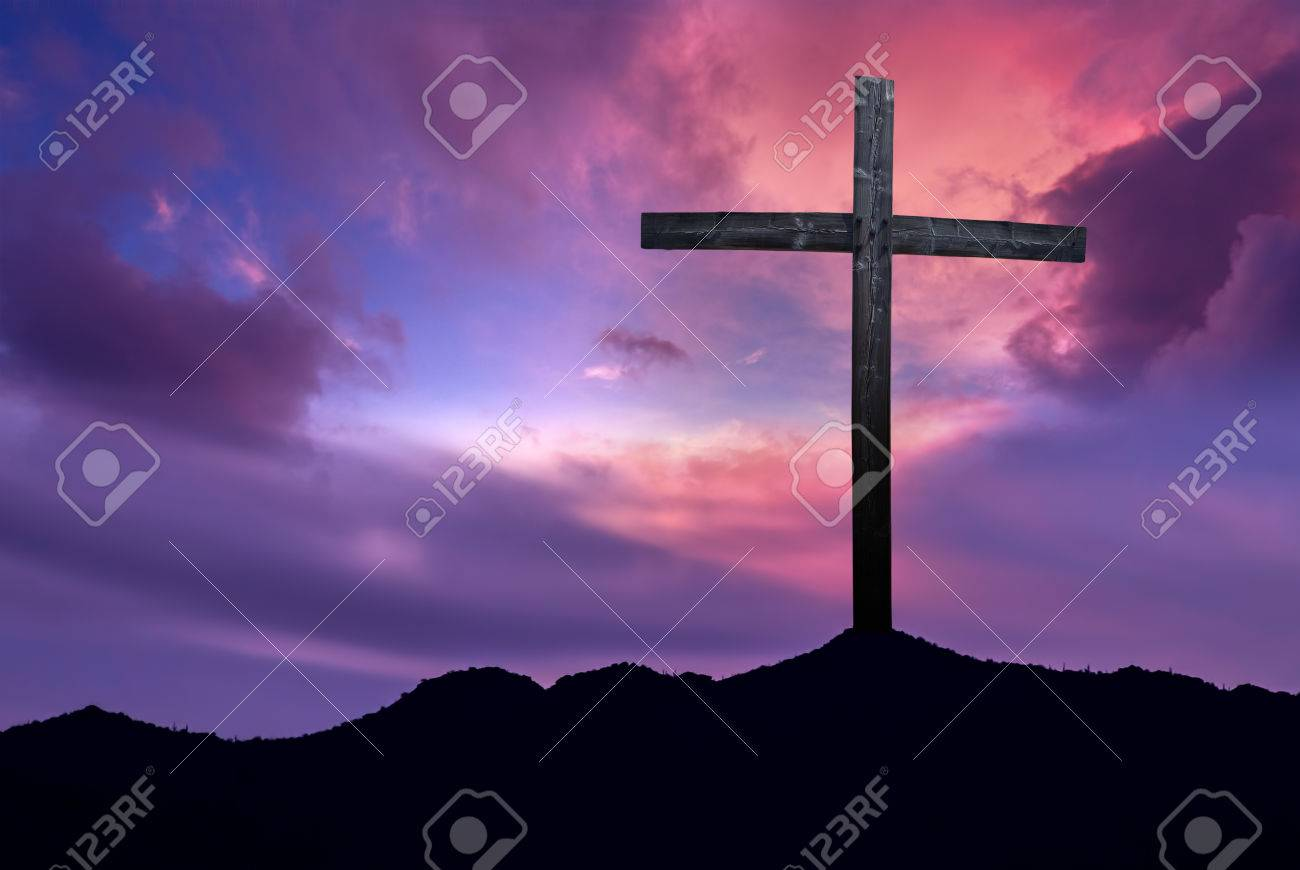 Silhouette of Christian cross at sunrise or sunset concept of religion - 54786586