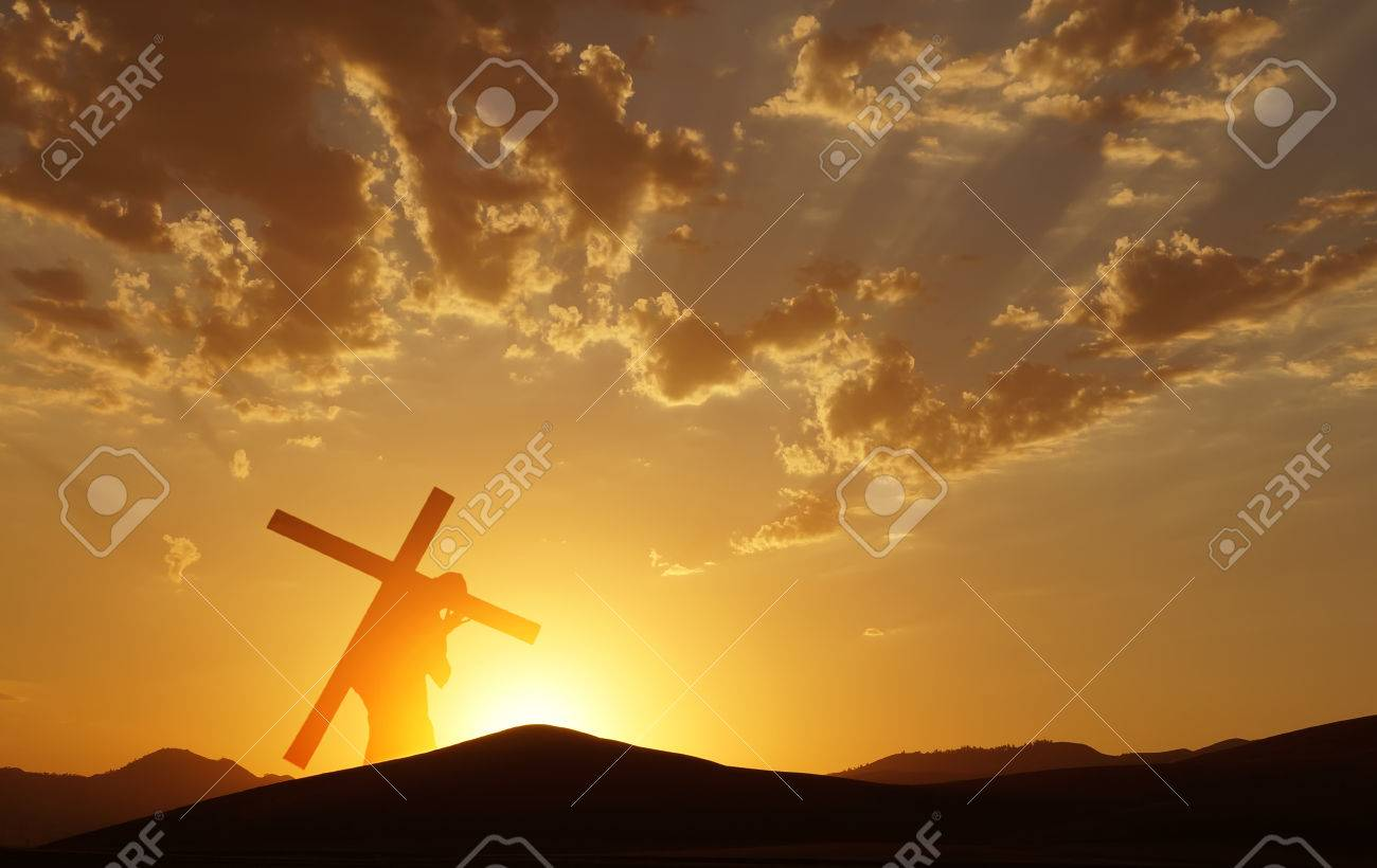 Christ carrying cross up Calvary on Good Friday over bright sky - 64687010