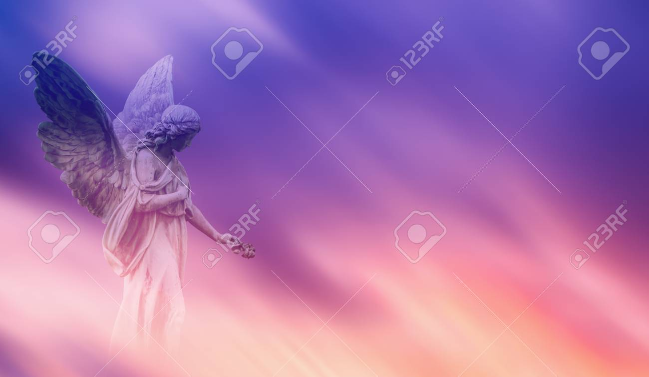 Beautiful angel in pink and blue sky concept of religion - 67271083