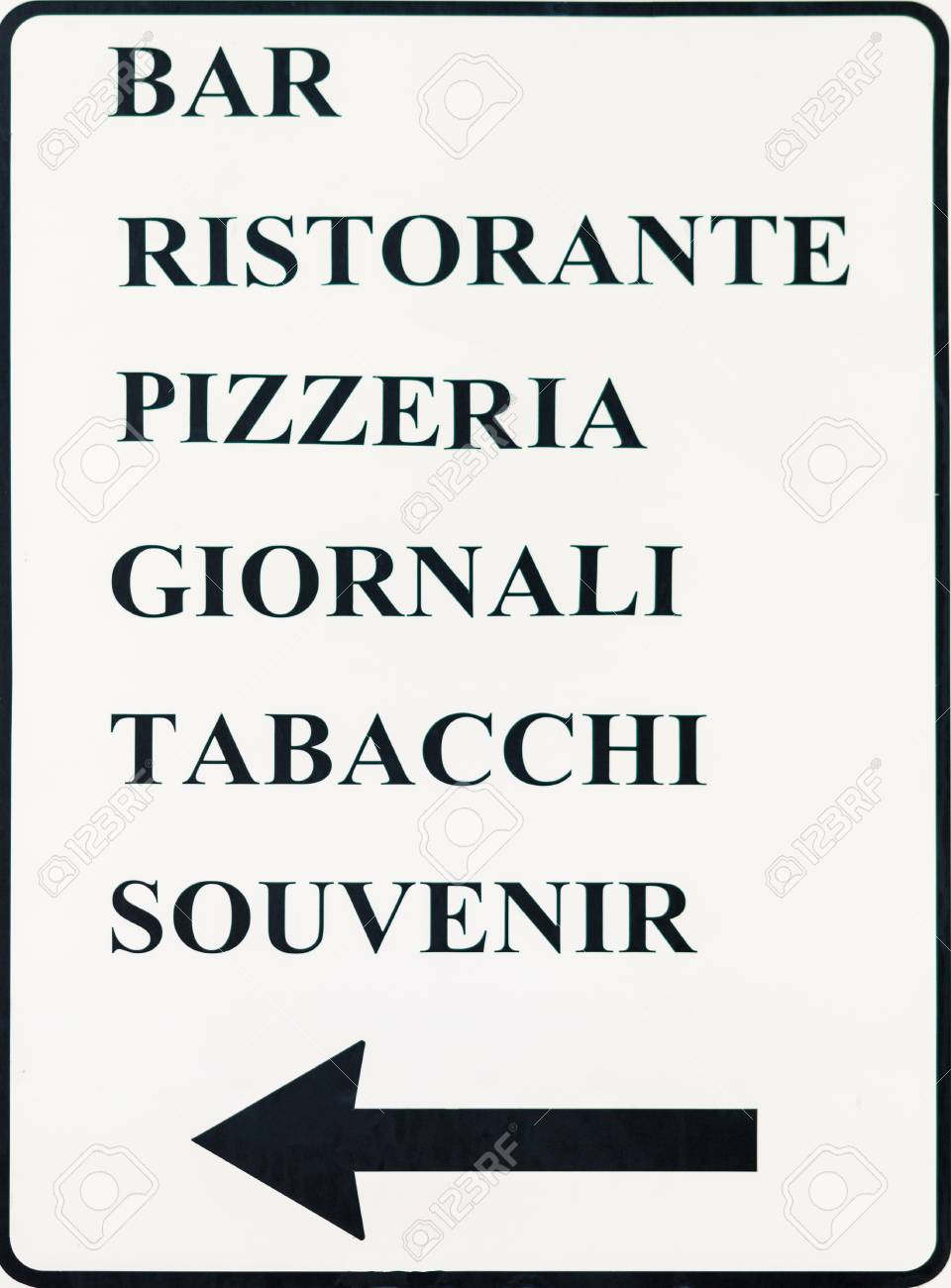 Metal Sign With Directions And Instructions In Italian