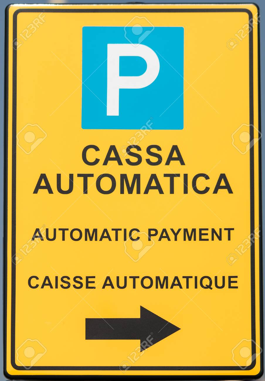 Metal Sign With Directions And Instructions In Italian Stock Photo