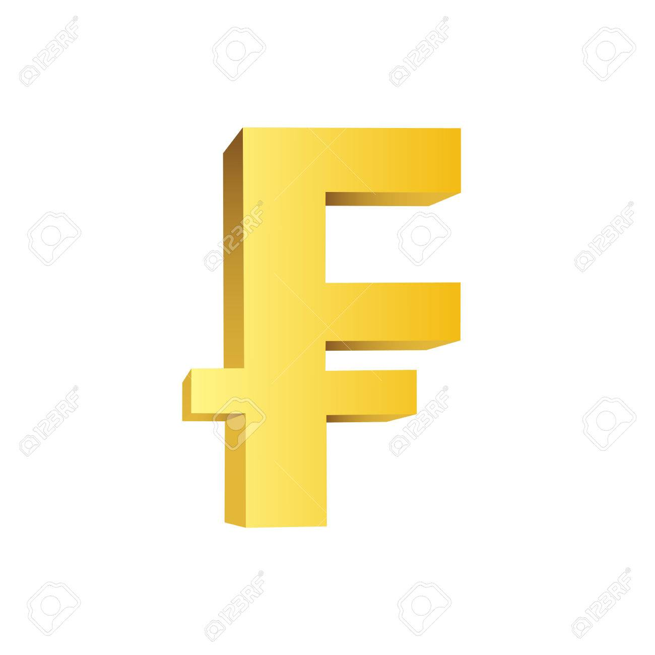 This Is A Golden Currency Symbol Of Franc Royalty Free Klipartlar