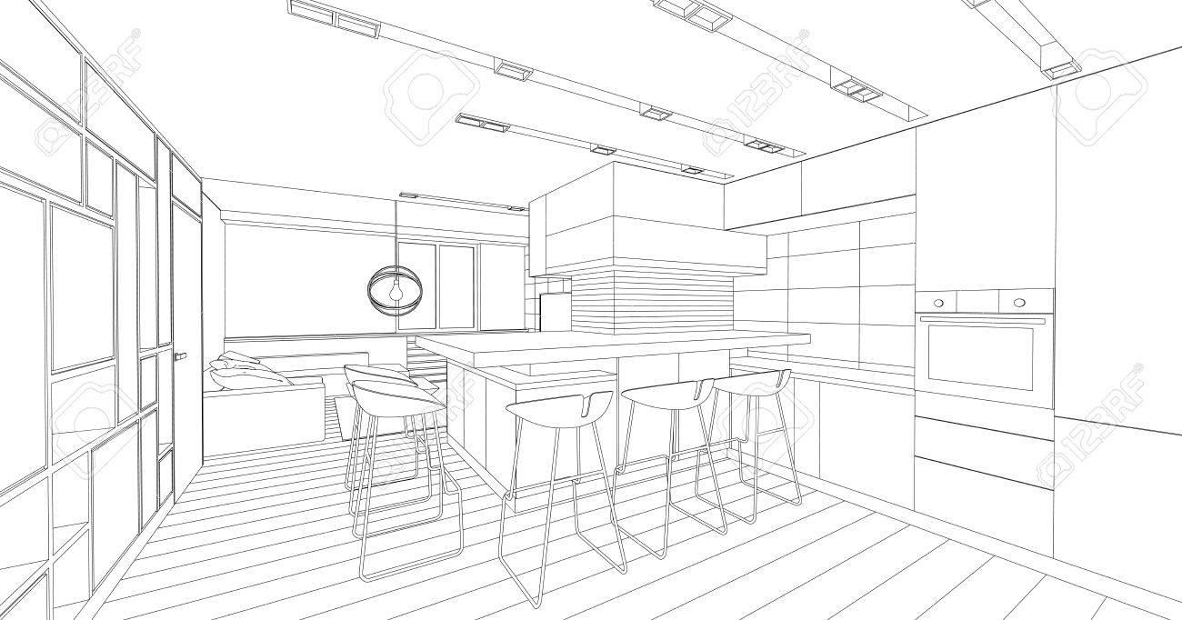 Intérieur Dessin Vectoriel Conception Architecturale Salon