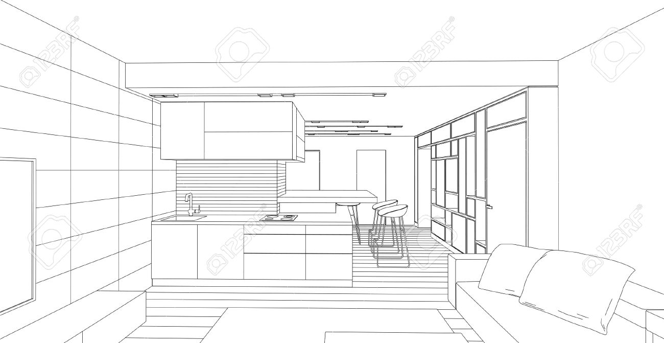 Room Design Drawing interior vector drawing. architectural design. living room royalty