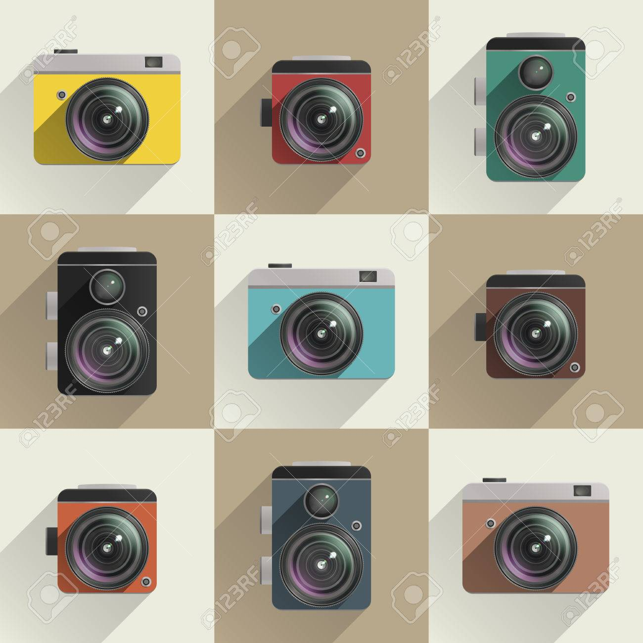 Set of colored camera icons  Different types of cameras