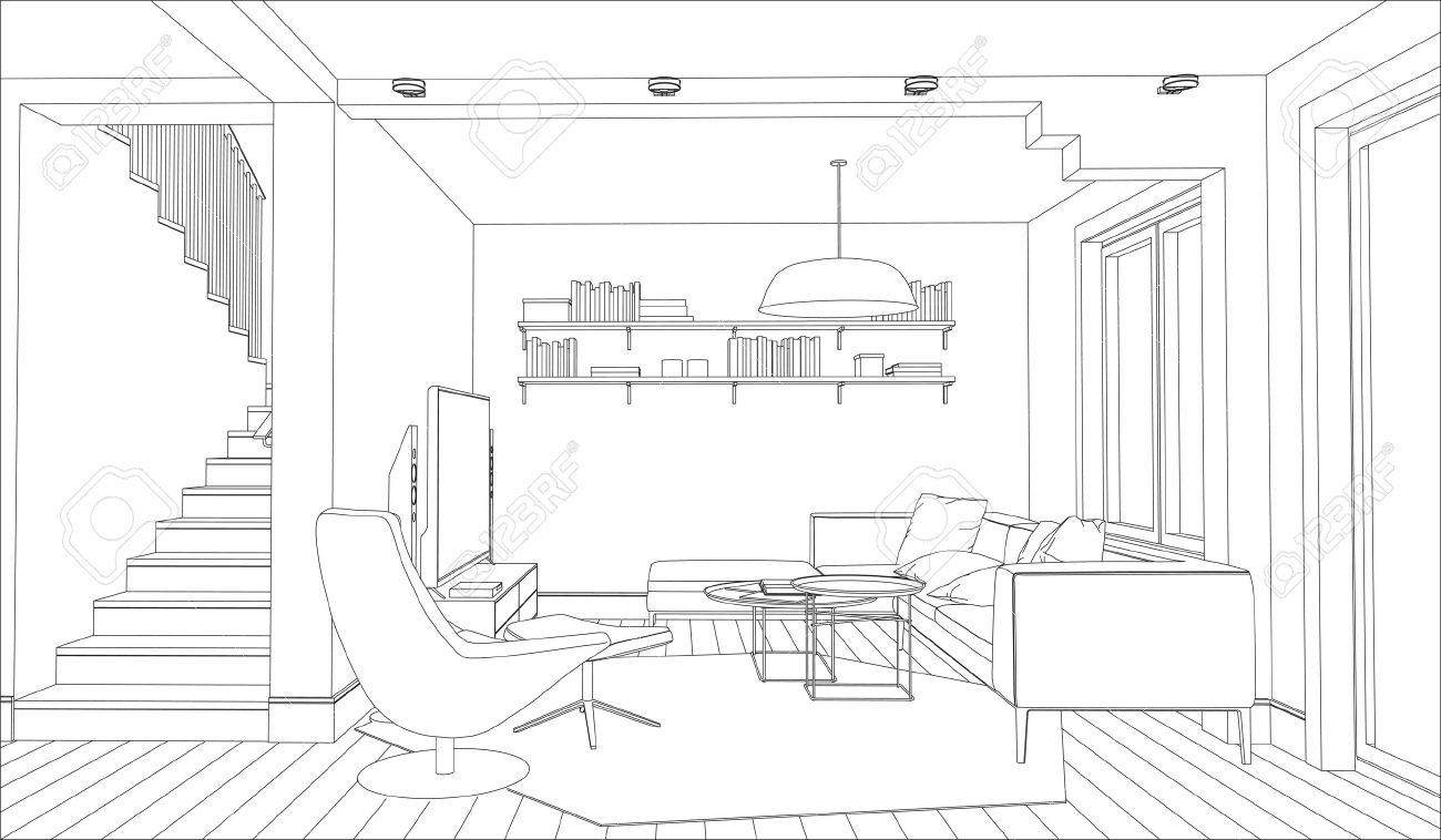 Captivating Line Drawing Of The Interior On A White Background Stock Vector   41232323