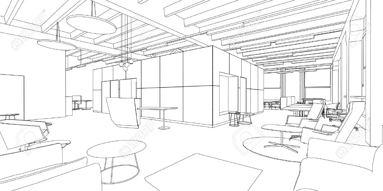 Interior Design Office Sketches outline sketch of a interior office space. royalty free cliparts
