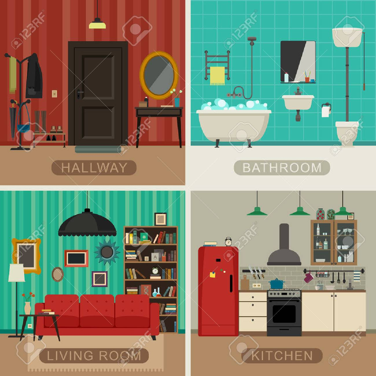Inters Aus Wohnzimmer, Küche, Bad Und Flur. Vector Flach Abbildungen ...