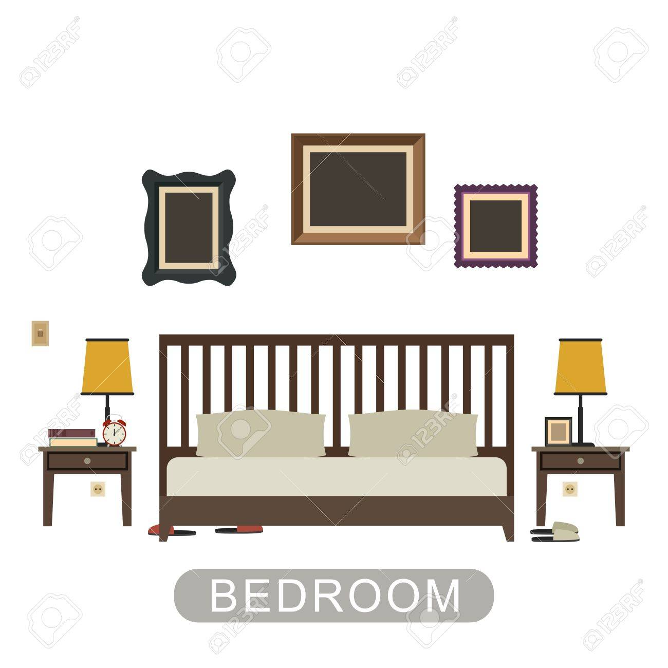 Bedroom Interior With Furniture On White Background. Vector Banner ...