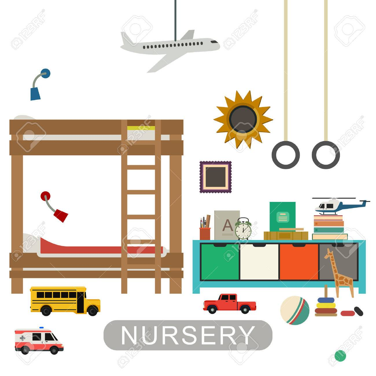baby playroom interior with furniture and toys vector banner of nursery in flat style baby playroom furniture