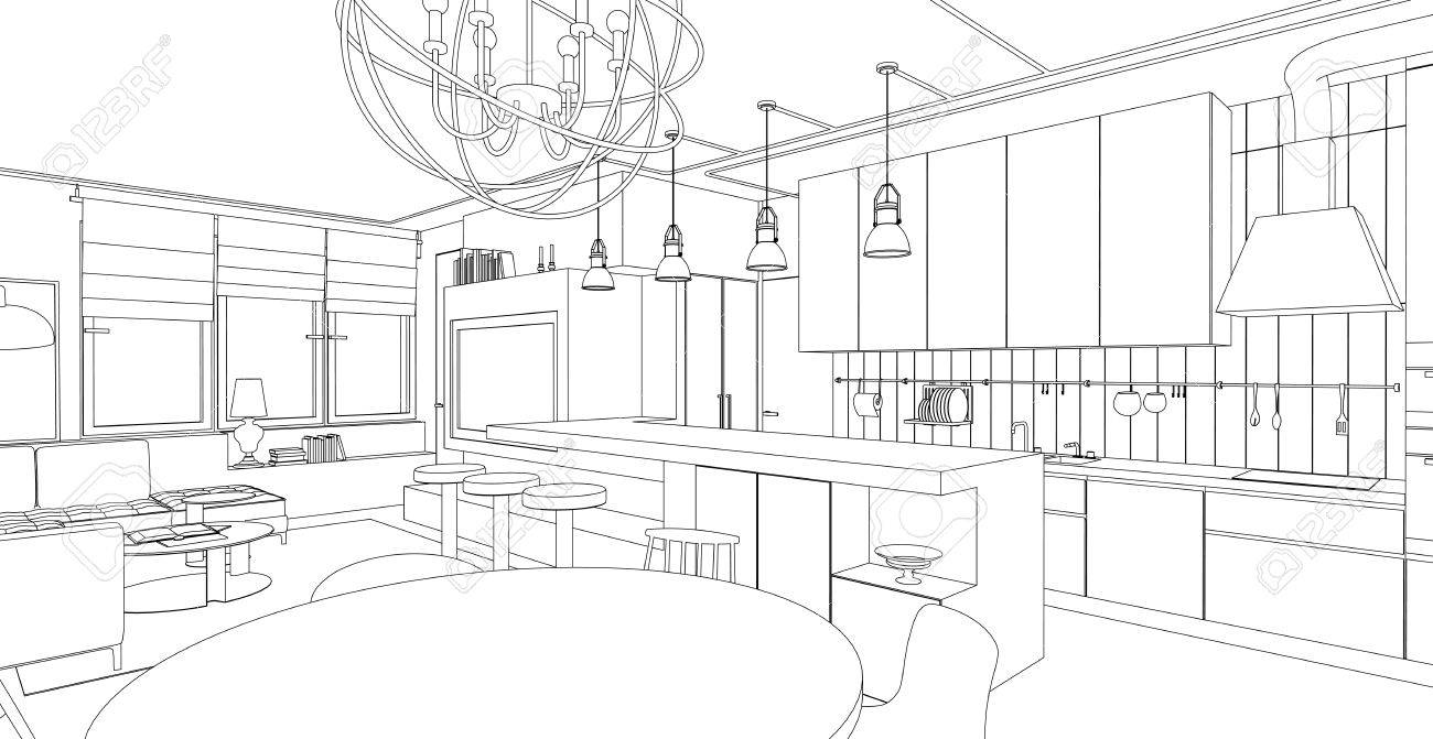 Interior vector drawing. Architectural design. Living room - 49606797