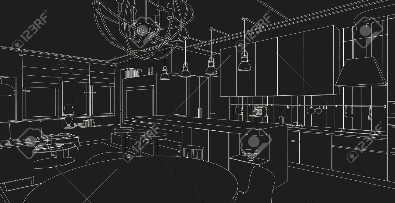 Interior Vector Drawing On Black Background Architectural Design