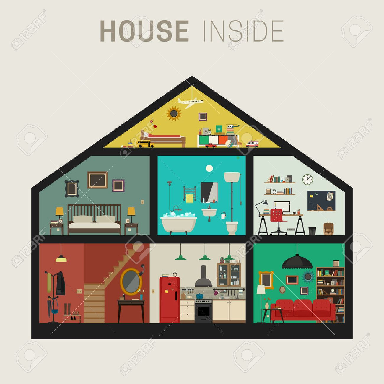 House inside interior vector flat house with set of basic rooms house in cut