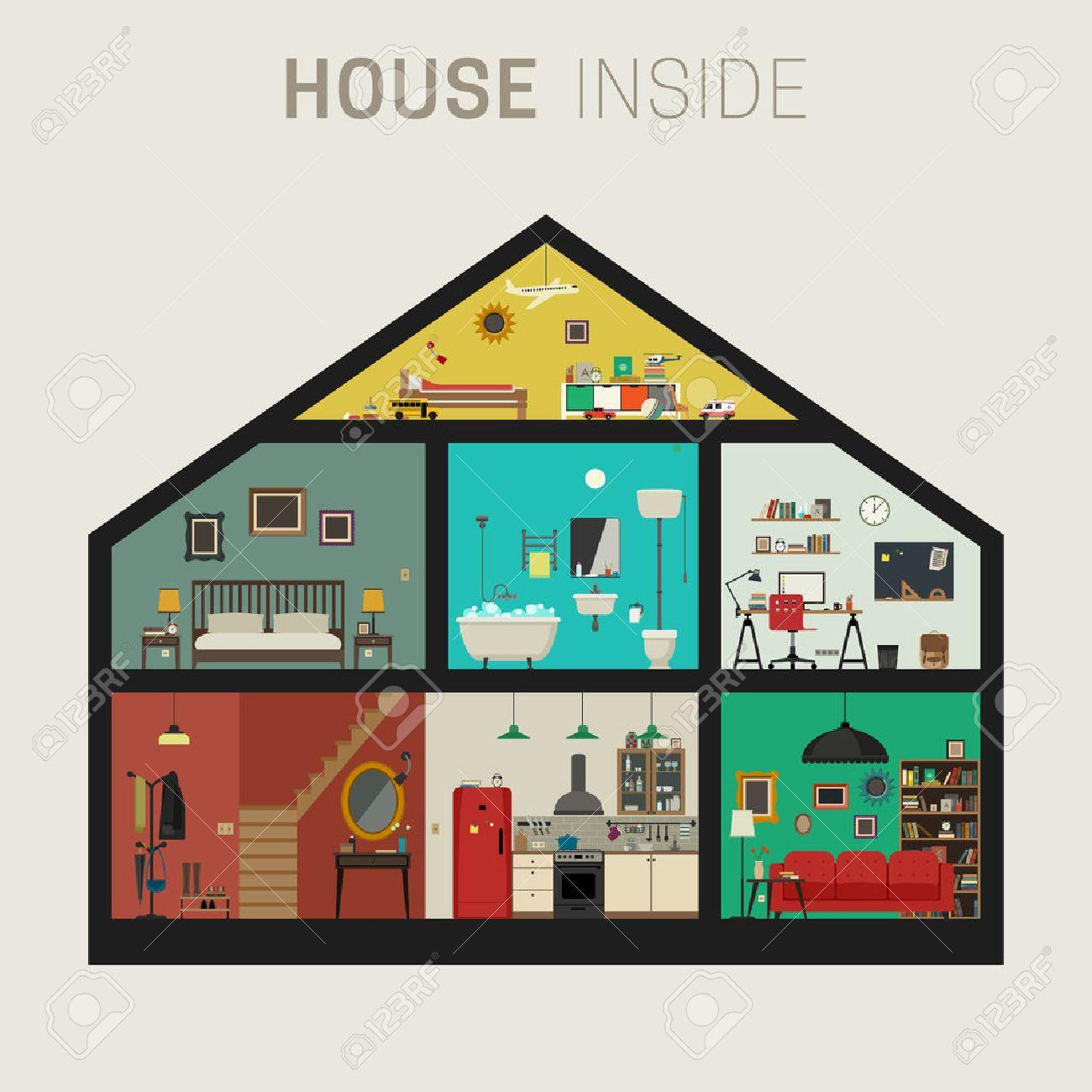 0a84e232ed89 Casa en el interior Inter. Vector casa plana con juego de las habitaciones  básicas. Casa en corte con muebles.