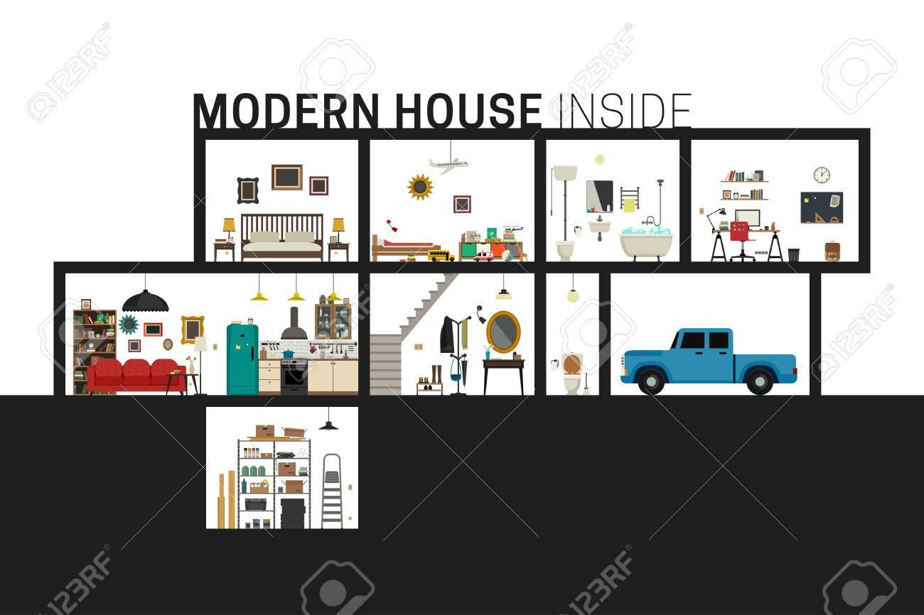 a46a6e326c5c Casa interior. Vector casa plana con juego de las habitaciones básicas.  Moderno edificio en el corte con muebles.