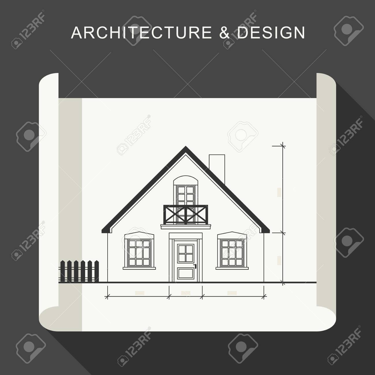 Blueprint Flat Illustration Architectural Drawing On White Roll