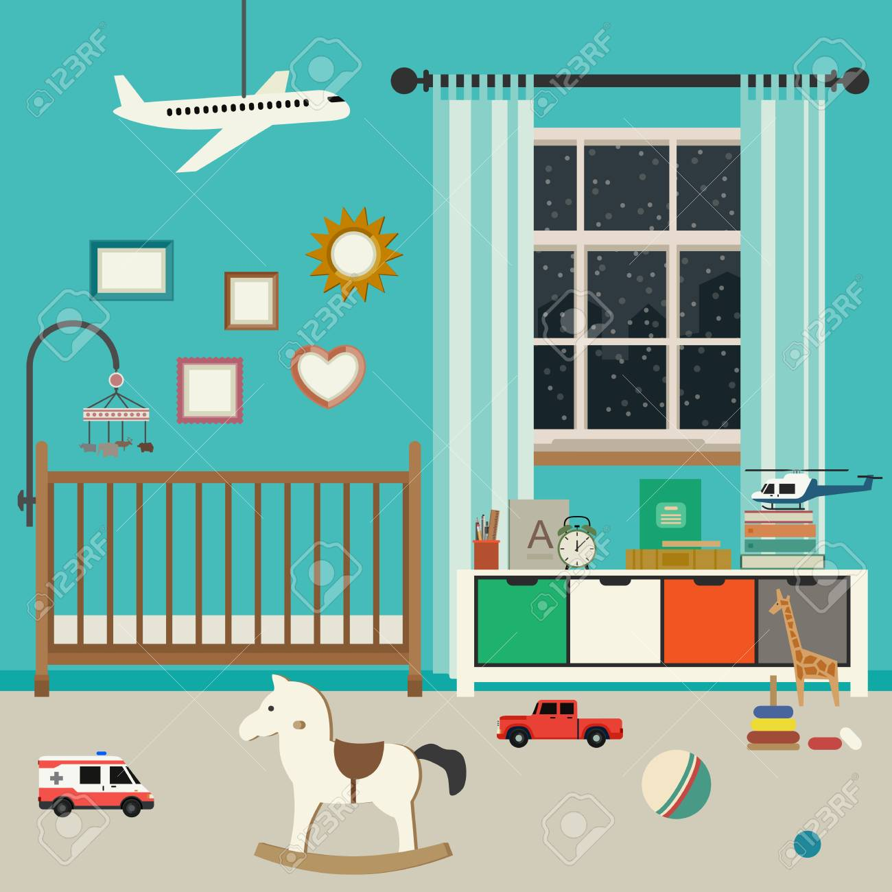 Habitación Del Bebé Interior Con Muebles Y Juguetes. Vector De La ...