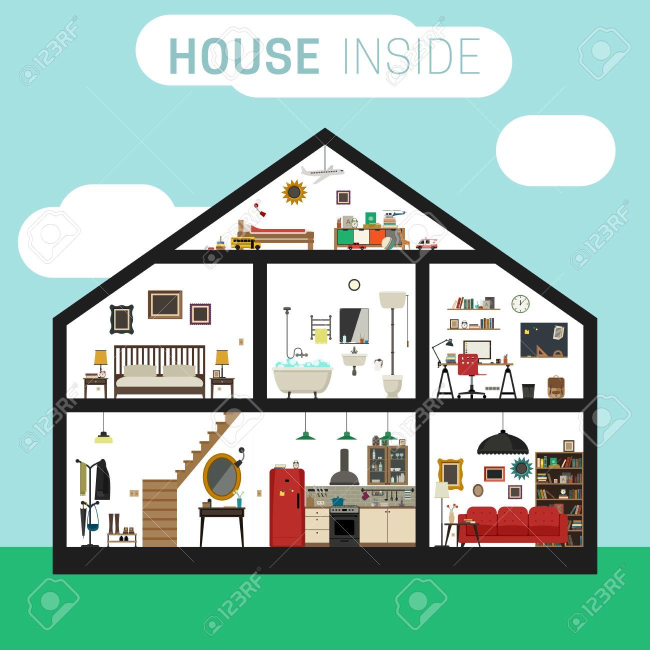 e8898dbfd5e4 Casa en corte con muebles. Vector casa plana con juego de las habitaciones  básicas.