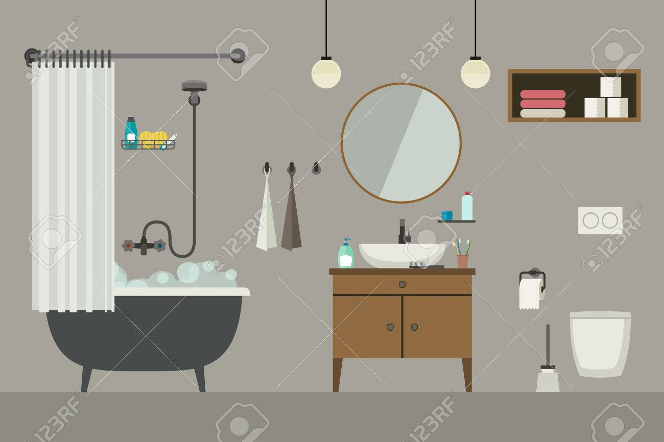 Bathroom Flat Illustration With Furniture Toilet Sink And  # Muebles Para Toilet