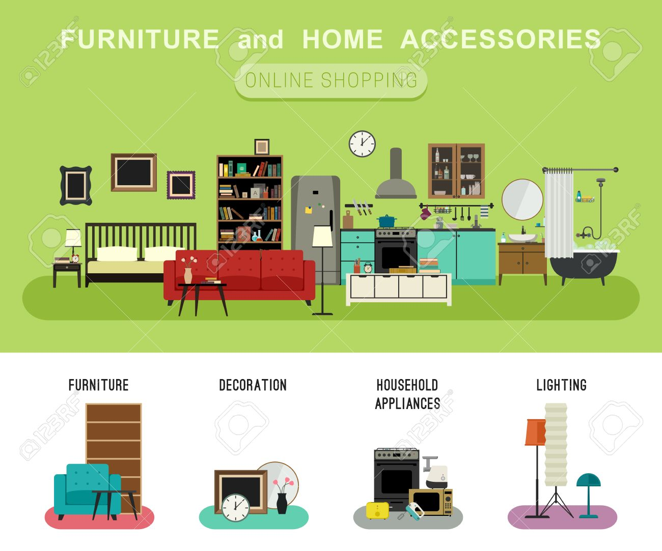 ... Decoration And Household Appliances. Furniture And Home Accessories  Banner With Vector Flat Icons Sofa, Bookshelf, Bed, Bathroom
