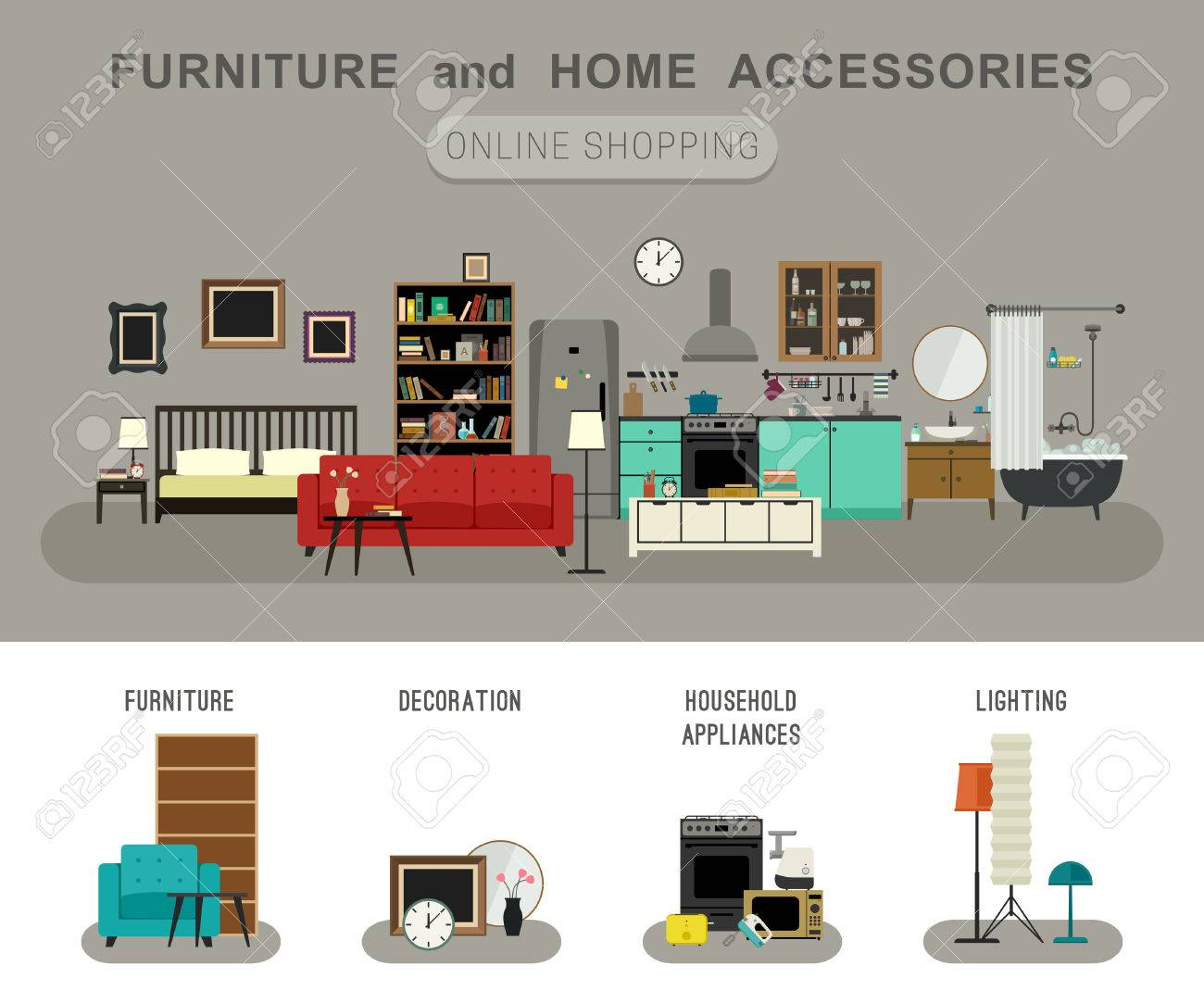 Furniture And Home Accessories Banner With Vector Flat Icons Sofa,  Bookshelf, Bed, Bathroom
