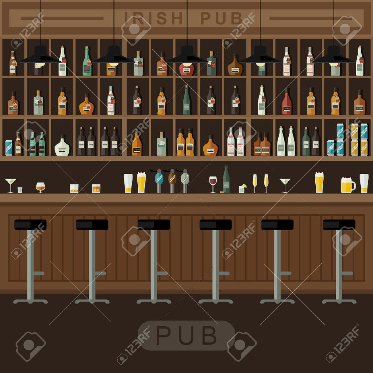Bar Restaurant With Counter In Flat Style. Vector Banner Of Interior ...