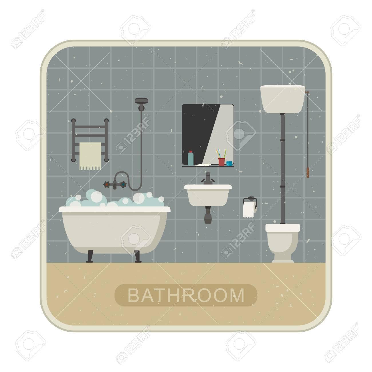 Salle De Bains Rétro Illustration Plat Avec WC, Lavabo Et Articles D ...