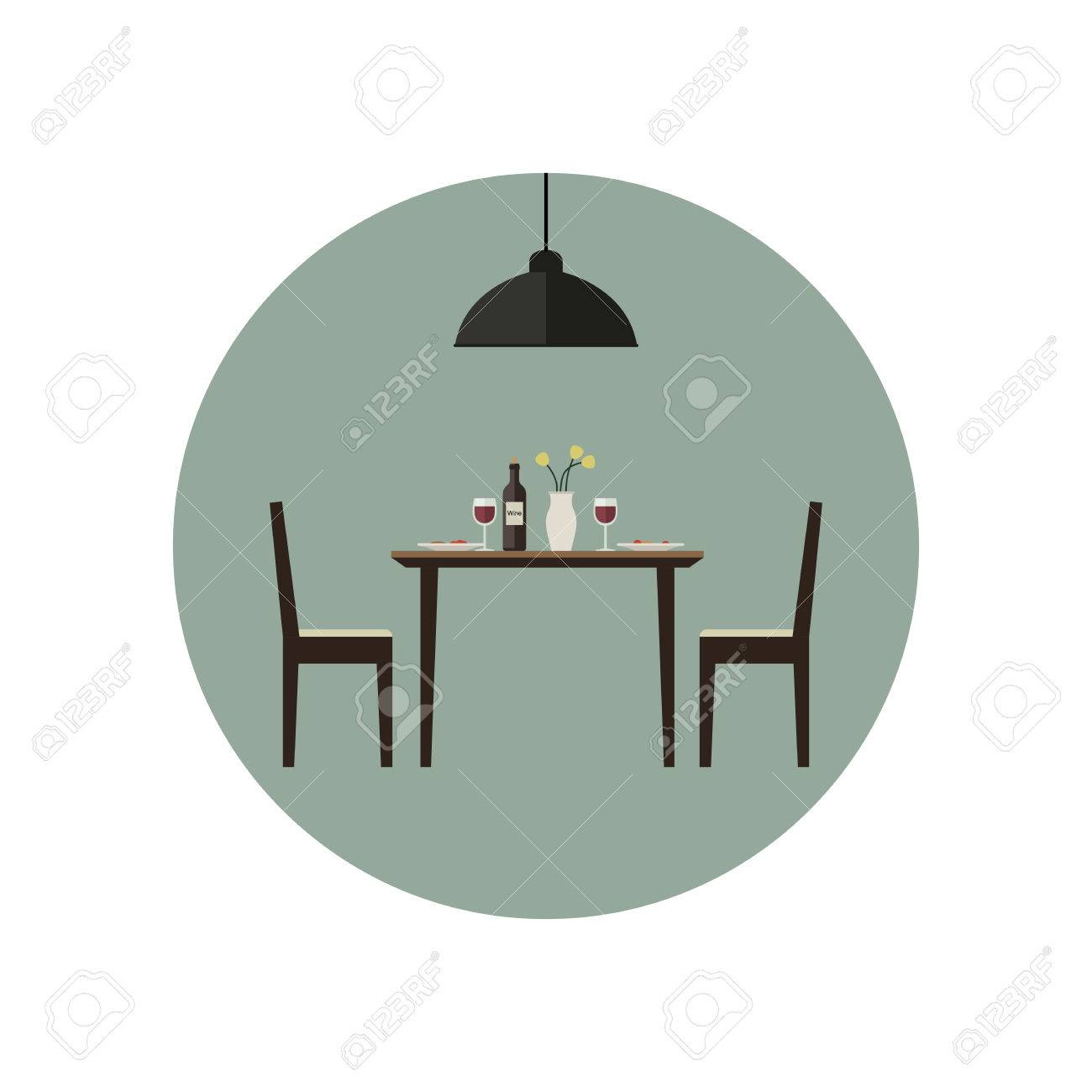 Dining Room Icon With Table And Two Chairs In Flat Style Vector Illustration Stock