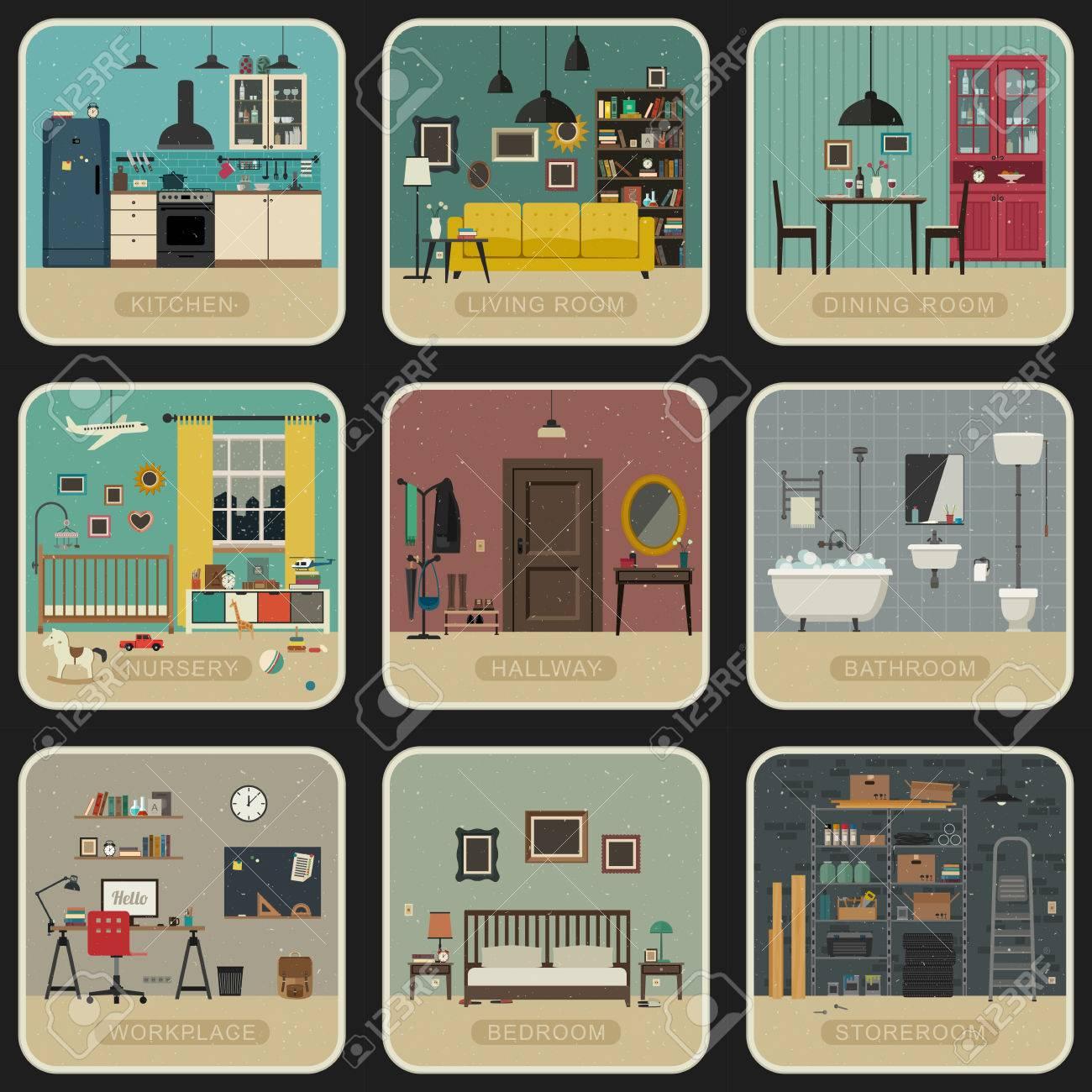 Set Von Innenräumen In Flachen Stil. Vintage Illustrationen Des Bad,  Wohnzimmer, Küche,
