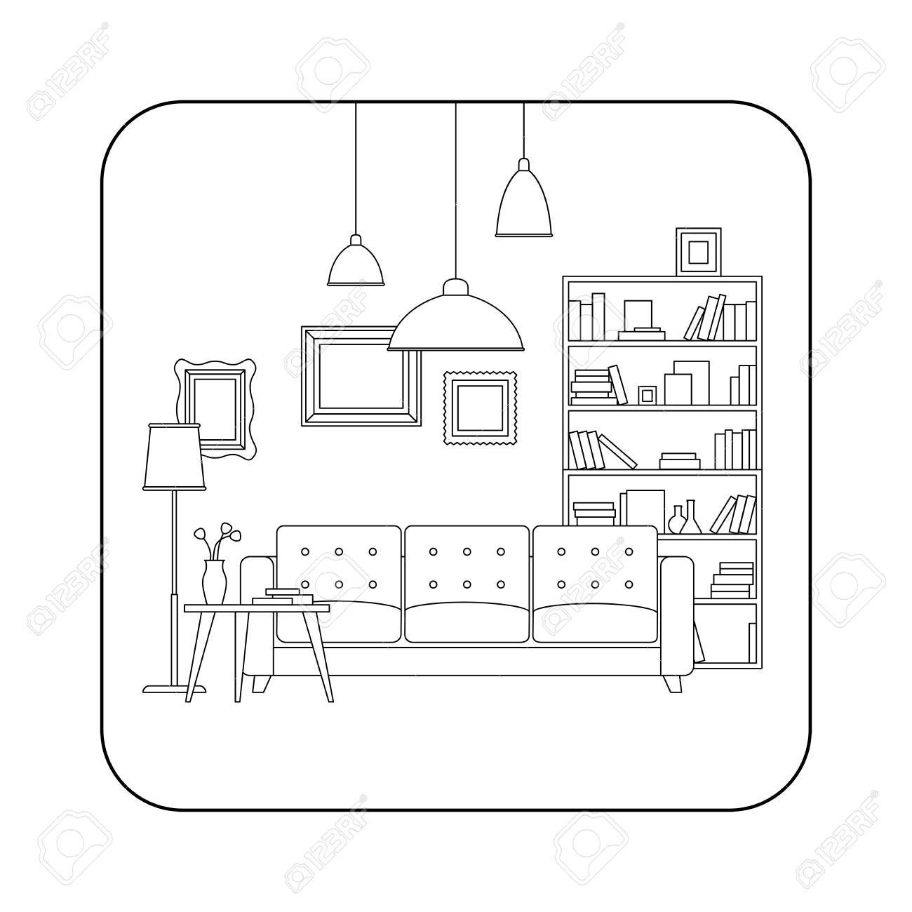 Living room line interior with furniture. Vector thin illustration of living room. - 53801168