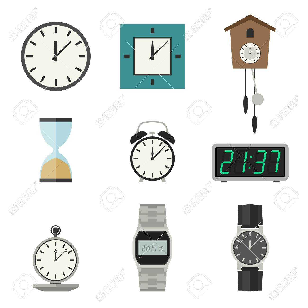 Reloj Y Relojes Iconos Conjunto De Vectores Los Diferentes Tipos De
