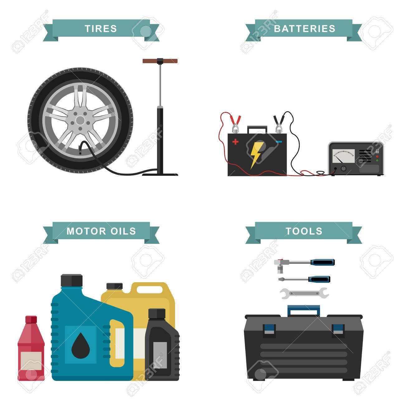Autoteile Flache Ikonen. Vector Einfache Illustration Von Reifen ...