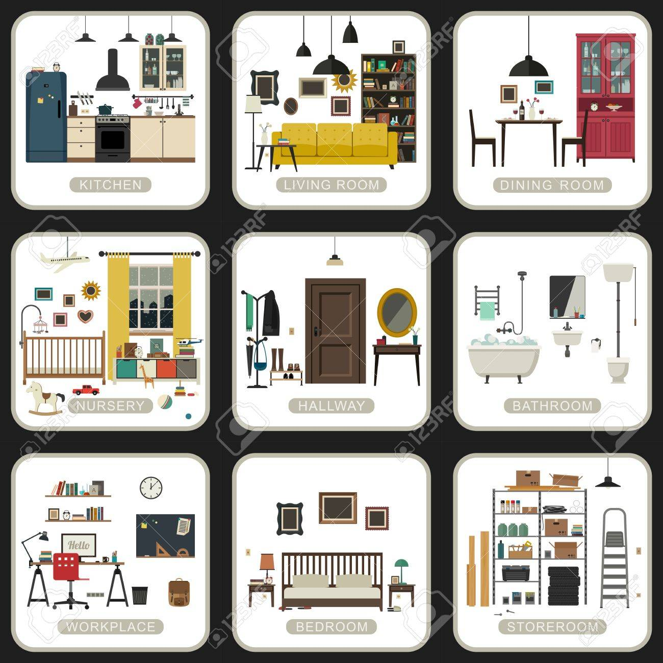 Set of interior rooms on white backgrounds. Vector flat illustrations of bathroom, living room, kitchen, etc. - 54501305
