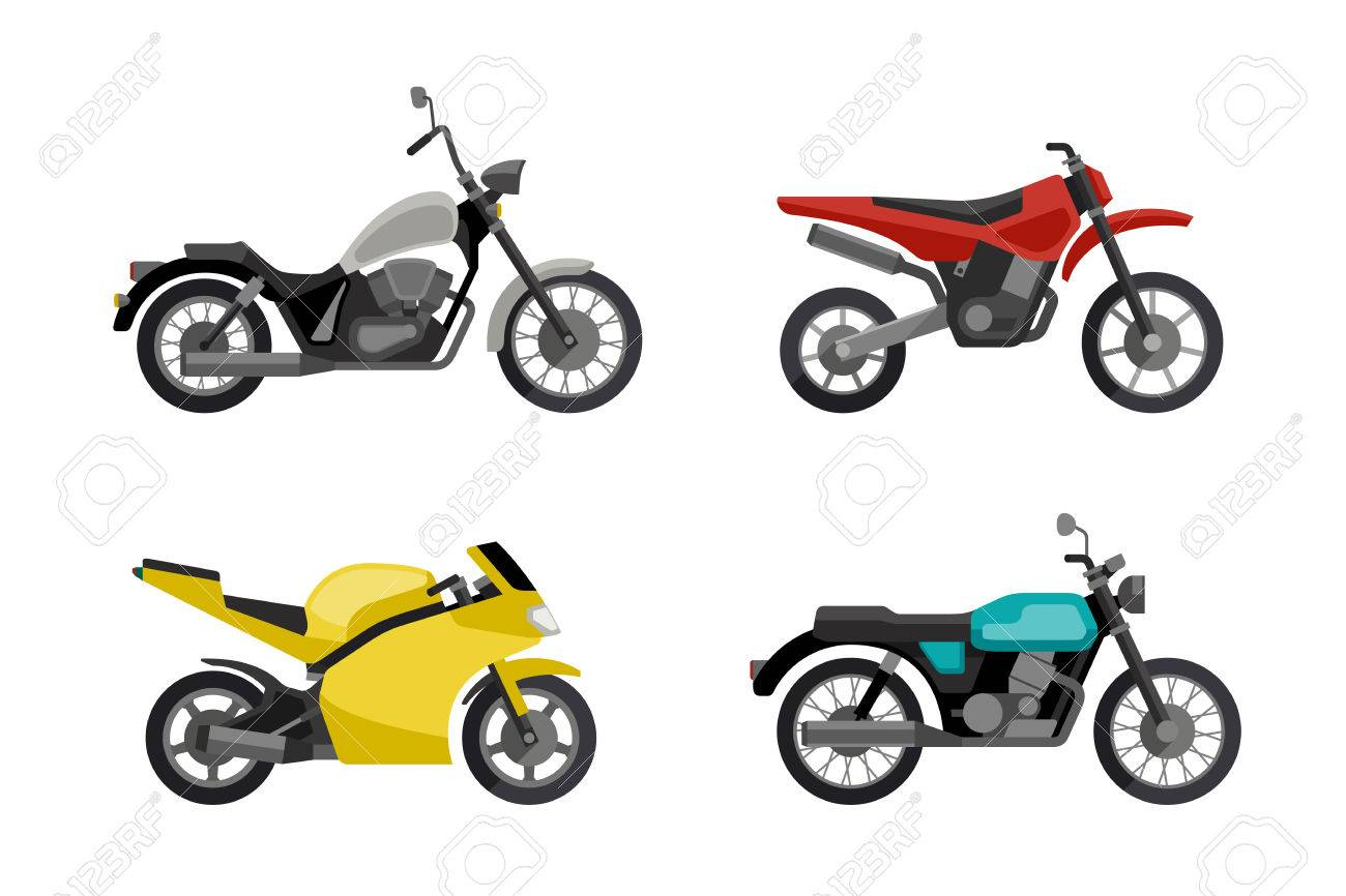 Motorcycles In Flat Style Vector Illustrations Of Different Type Stock