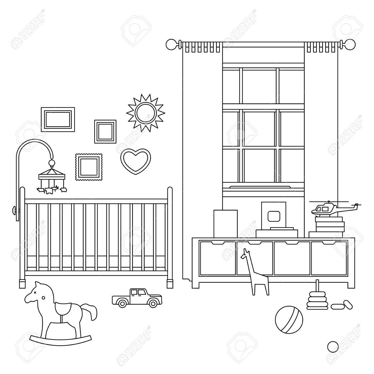 Línea De La Habitación Del Bebé Ilustración Inter Contorno De Vivero ...