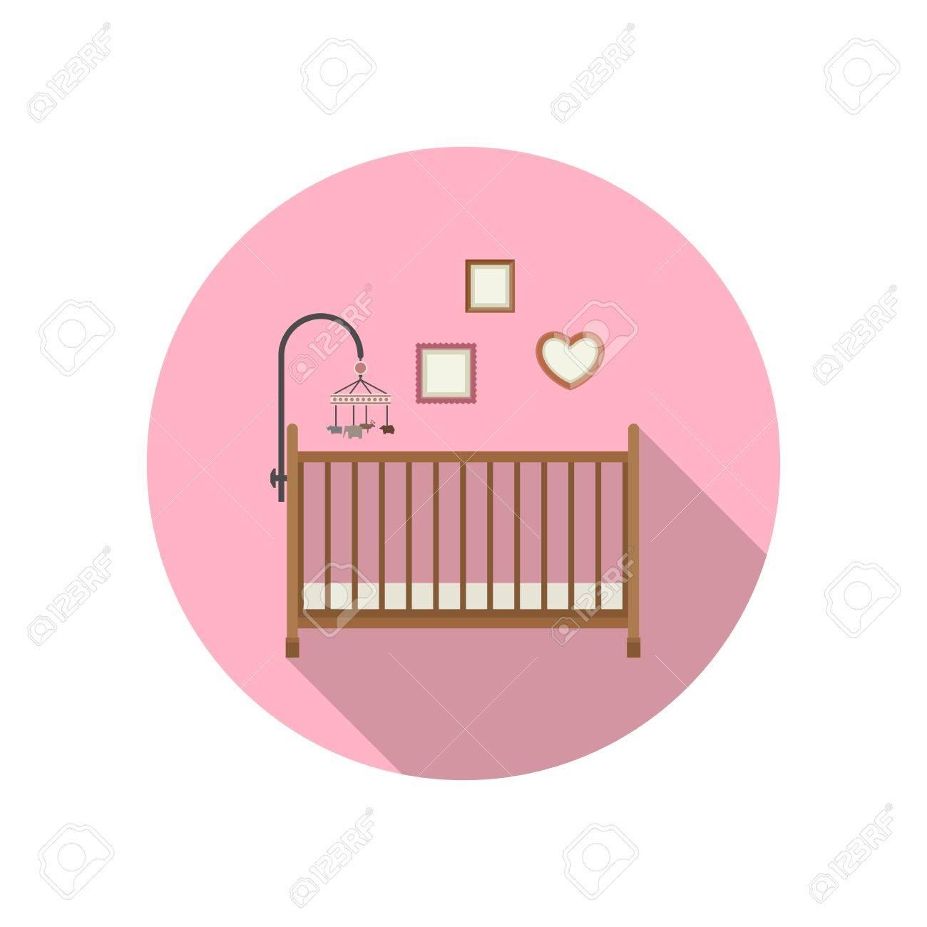 Icono De La Cuna Del Bebé En El Fondo De Color Rosa. Ilustración ...