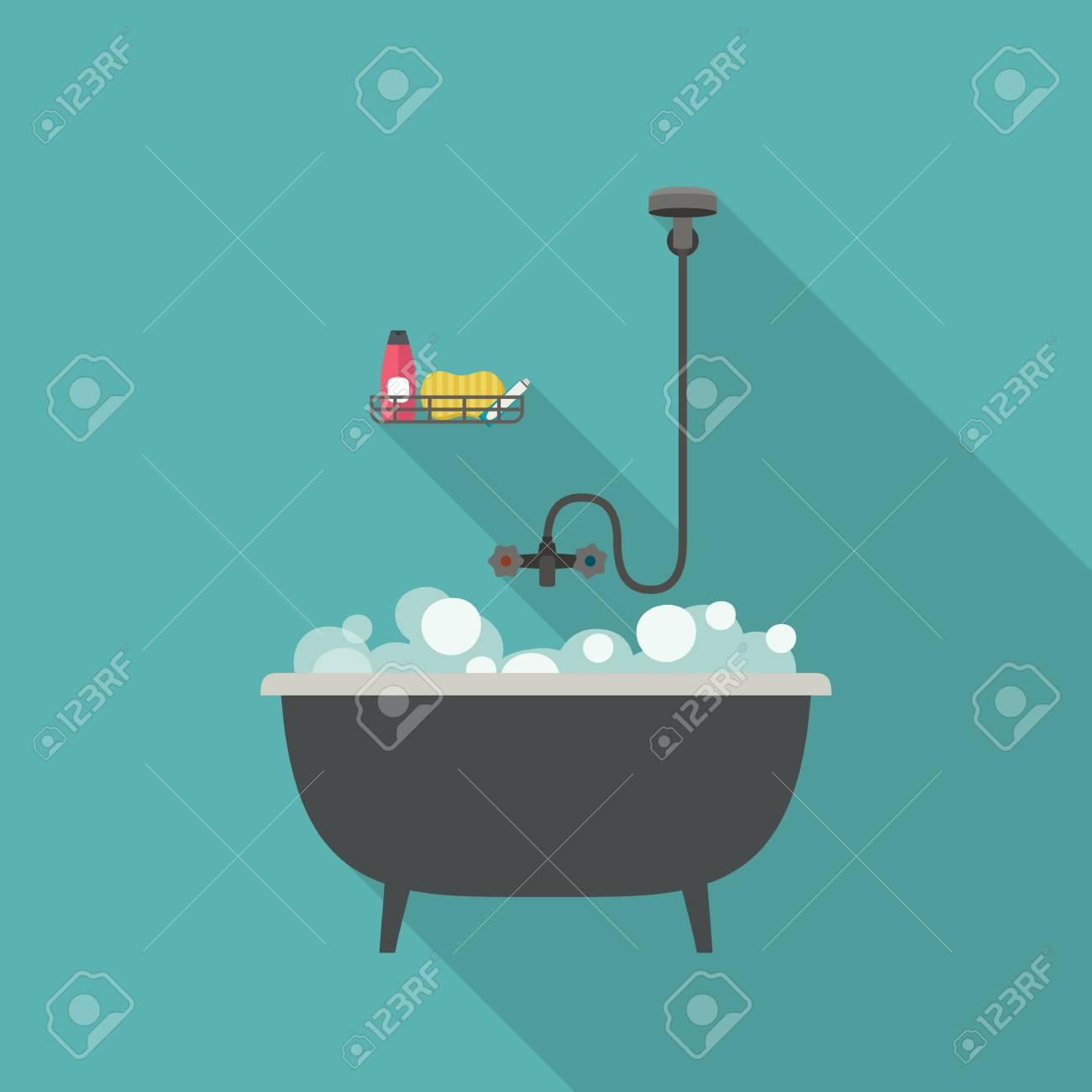 Bath Vector Illustration With Long Shadow. Flat Banner Of Bathtub ...