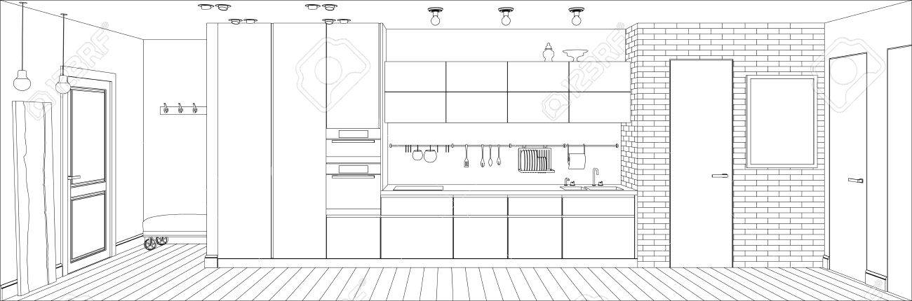 kitchen drawing perspective. Wonderful Kitchen Line Sketch Drawing Of The Interior Kitchen Vector Perspective  Illustration Stock  66602272 Throughout Kitchen Drawing Perspective