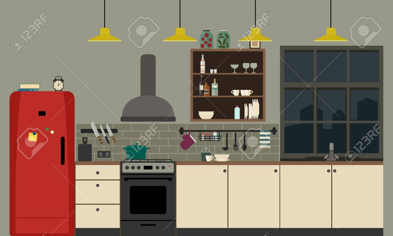 Kitchen Interior With Furniture And Equipment Vector Banner