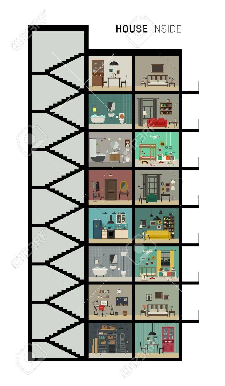 efdc2d98cbe7 Casa interior. Vector casa plana con juego de las habitaciones básicas.  Casa de la alta subida de corte con muebles.