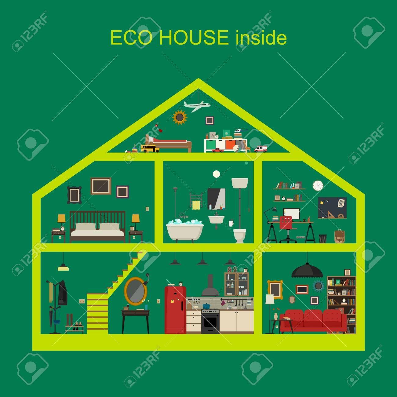 17df4e1ab773 Casa ecológica interior. Vector casa plana con juego de las habitaciones  básicas. Casa en corte con muebles.