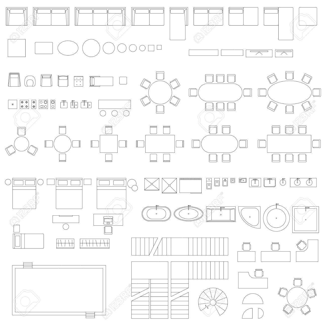 Símbolos De Línea De Muebles Y Elementos Ilustraciones Vectoriales ...