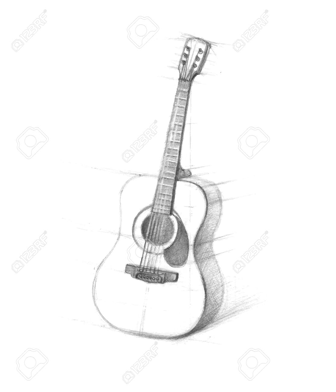 Sketch of guitars on white background drawn in pencil six string