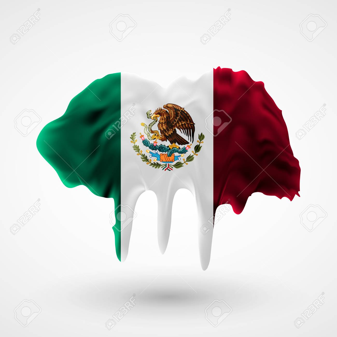 Flag Of Mexico Painted Colors. Blot With Paint Streaks With The ...